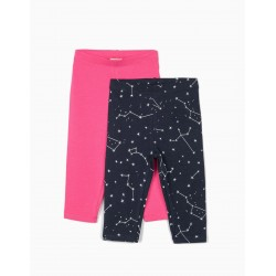 Leggings bebe niña ZIPPY básicos estampado color marino y fucsia
