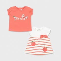 Camisetas bebe niña MAYORAL set manga corta color sorbete