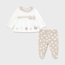 Conjunto bebe niña MAYORAL polaina bordado color taupe vigoré