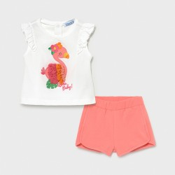 Conjunto bebe niña MAYORAL camiseta y short color flamingo