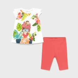 Conjunto bebe niña MAYORAL leggings canale color coral