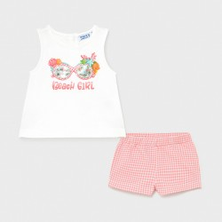 Conjunto bebe niña MAYORAL short vichy color flamingo