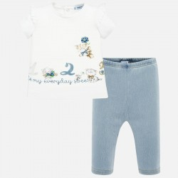 Conjunto bebe niña MAYORAL camiseta volante y leggings color blanco