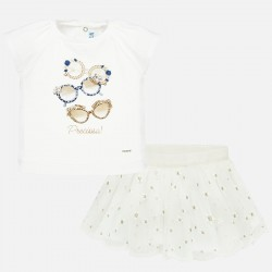 Conjunto bebe niña MAYORAL camiseta y falda tul bordado color blanco